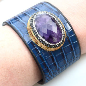 Thick Blue Leather Cuff Wide Amethyst Bracelet
